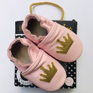 Rose Chocolat Leather Baby Girl Shoes - Princess